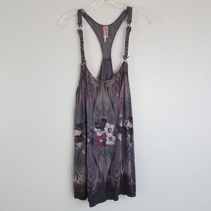 free people m purple floral racer back tank N21